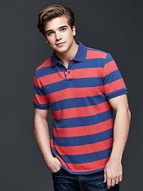 Color-on-color rugby stripe piqu� polo