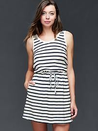 Linen-cotton stripe tie dress