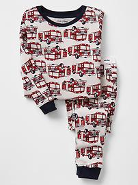 Firetruck print sleep set
