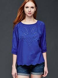 Three-quarter sleeve eyelet top