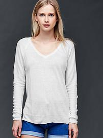 Linen blend V-neck sweater
