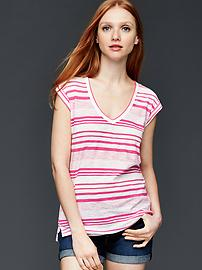 Slub stripe roll sleeve tee
