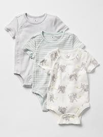 Safari elephant bodysuit (3-pack)