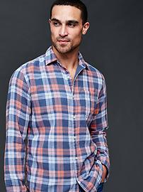 Double layer checkered plaid standard fit shirt