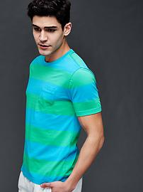Vintage wash multi color rugby stripe t-shirt