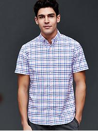 Oxford plaid short sleeve standard fit shirt