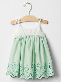 Mix-fabric eyelet dress