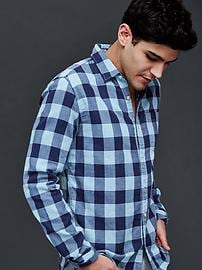 Double-layer gingham standard fit shirt