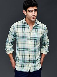 Double-layer plaid standard fit shirt