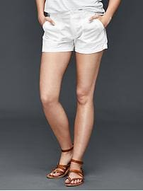 Linen-cotton utility shorts