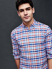 Oxford summer plaid slim fit shirt