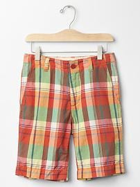 Plaid flat front shorts