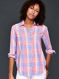 Cotton plaid boyfriend shirt