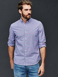 Oxford micro plaid slim fit shirt