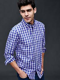 True wash box plaid slim fit shirt