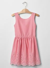 Eyelet fit & flare tank dress