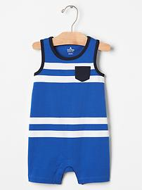 Stripe pocket shortie one-piece