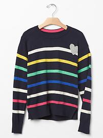 Intarsia heart stripe sweater