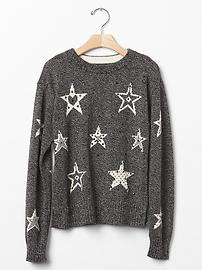 Intarsia star marled sweater