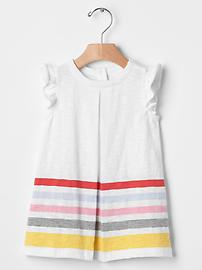 Stripe border flutter dress