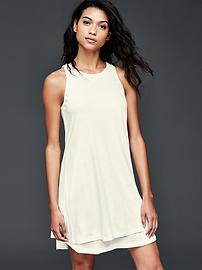 Double-layer linen-cotton dress
