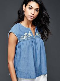 1969 embroidered chambray babydoll top