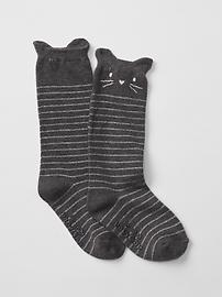 Stripe cat knee high socks