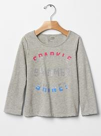 Glitter graphic long sleeve tee