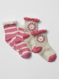 Crochet-trim socks (2-pack)