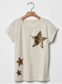 Sequin graphic a-line tee
