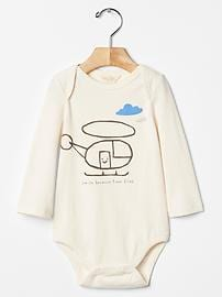 Organic long-sleeve graphic bodysuit