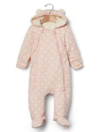 Cozy polka dot bear one-piece