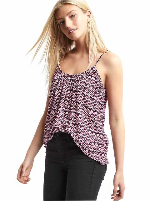 Shirred print cami