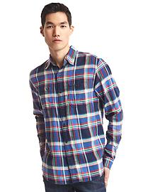 Flannel multi-plaid shirt