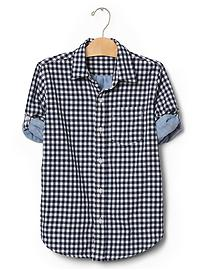 Gingham doubleweave convertible shirt