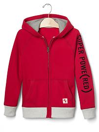 GapKids x (RED) patch zip hoodie