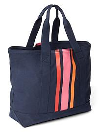 Vertical stripe medium utility tote