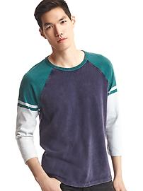Colorblock baseball tee