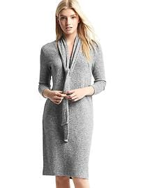 Softspun marled tie-neck dress