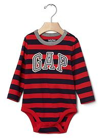 Logo stripe long sleeve bodysuit