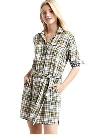 Gauzy plaid shirtdress