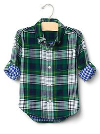 Plaid doubleweave convertible shirt