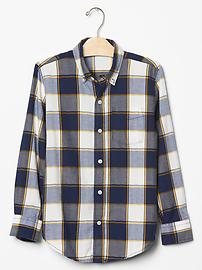 Plaid herringbone button-down shirt