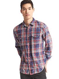 1969 denim plaid western slim fit shirt