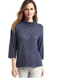 Softspun knit funnel neck top
