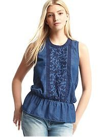 1969 denim embroidered peplum tank