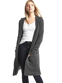 Long hooded cardigan