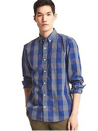 True wash linear gingham standard fit shirt