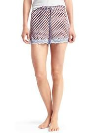 Lace-trim print sleep shorts