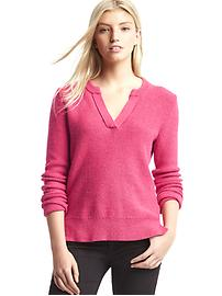 Split neck pullover sweater